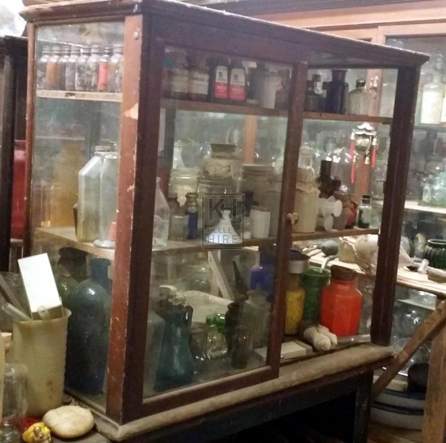 Medium wood painted glass cabinet