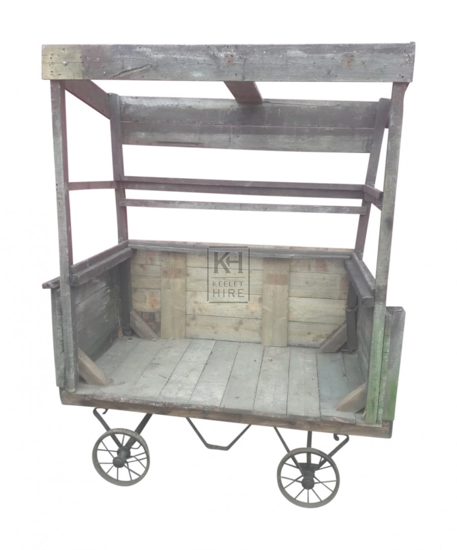 Simple wood market cart with roof