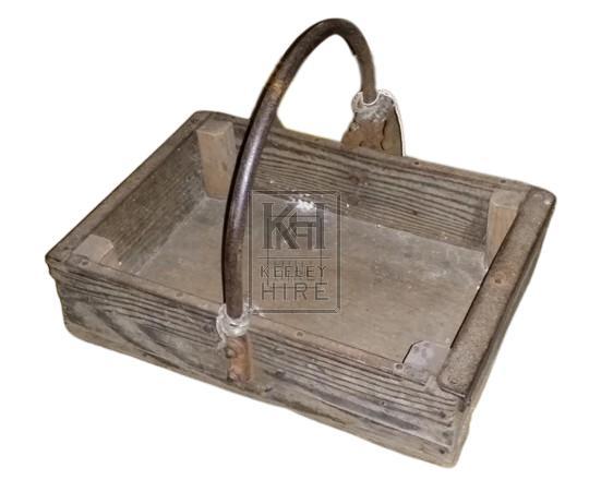 Wood tool box with iron handle