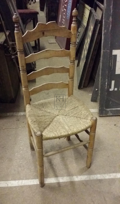 Ladder back straw seat chair