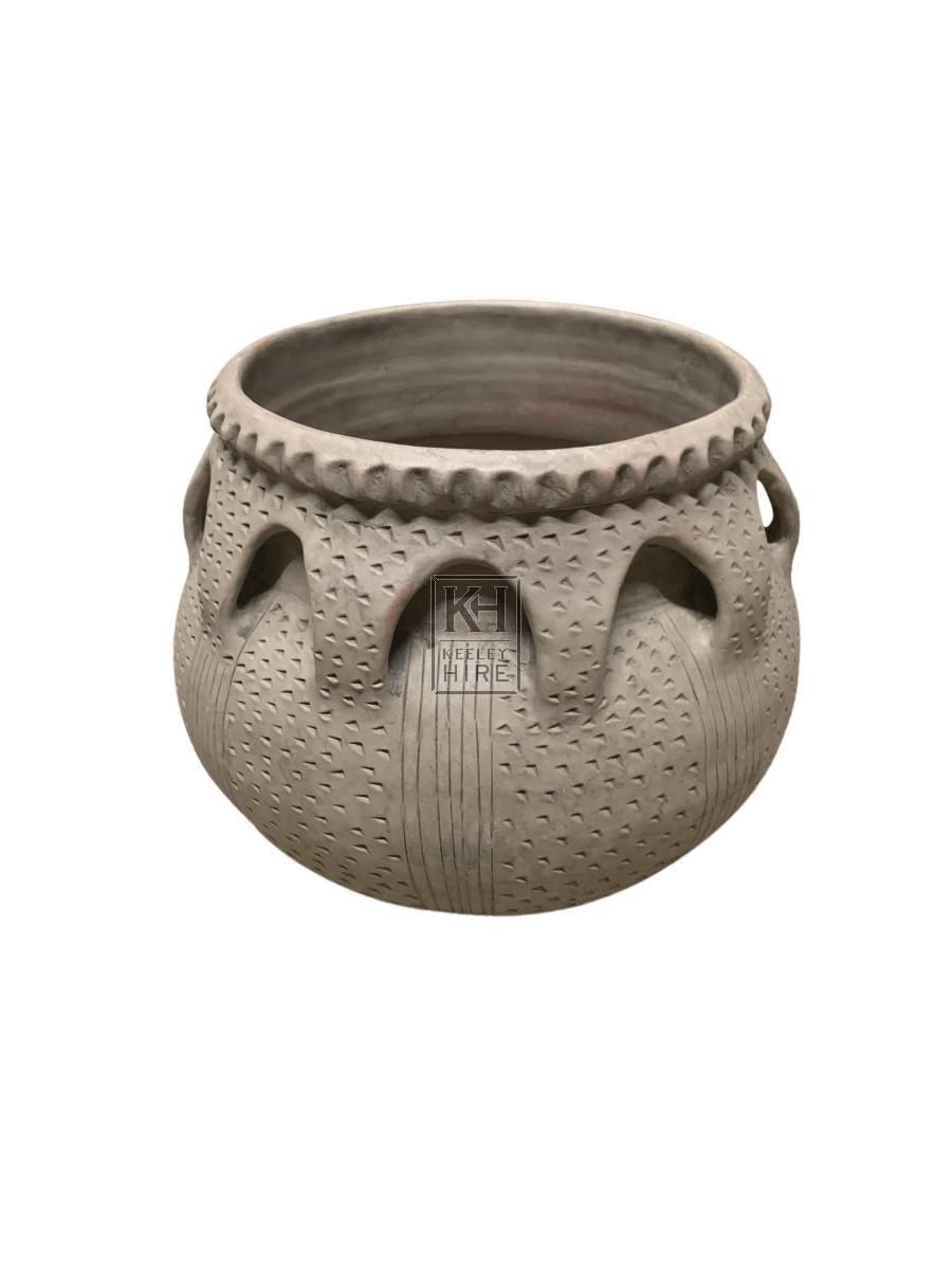 Grey Clay Urn with Decorative Handles