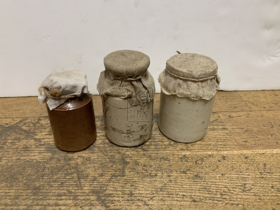 Assorted ceramic jars