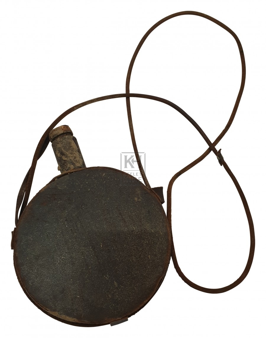 Round leather water bottle with strap