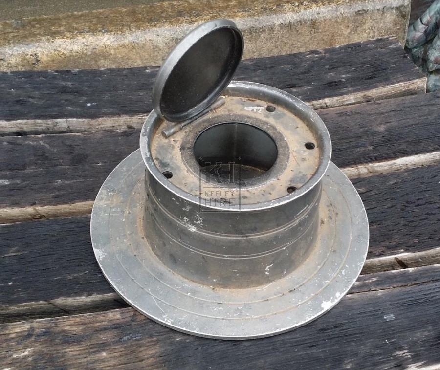 Very large round pewter inkwell
