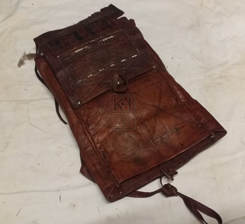 Dark leather pouch with tassels