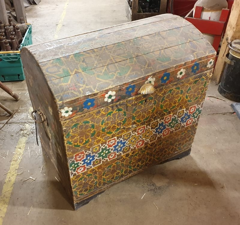 Large painted dome chest