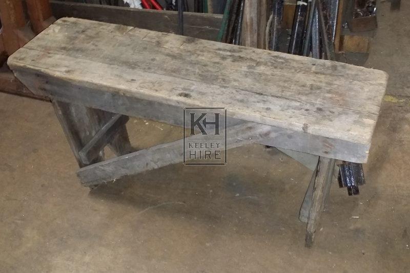 Short rough wood bench