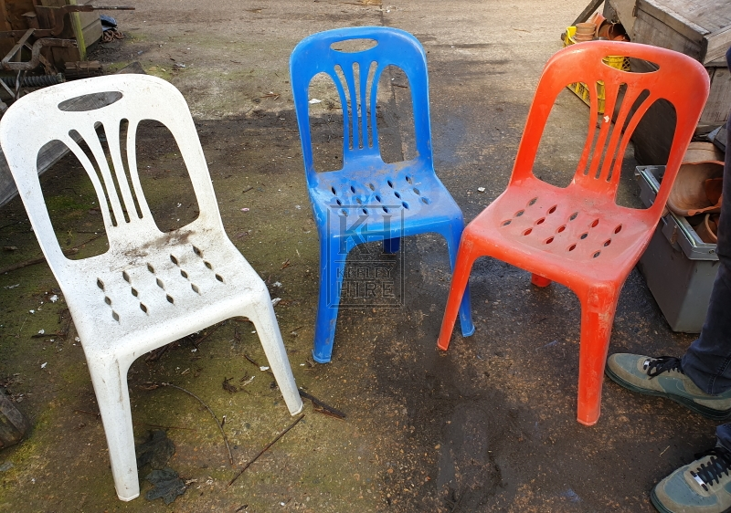 Coloured plastic chairs
