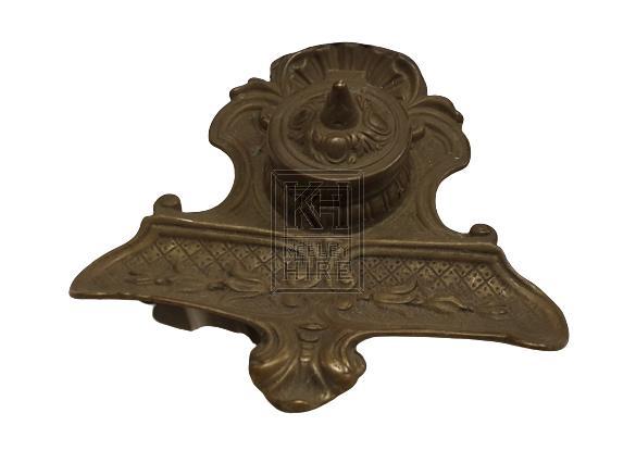 Single brass ornate inkwell