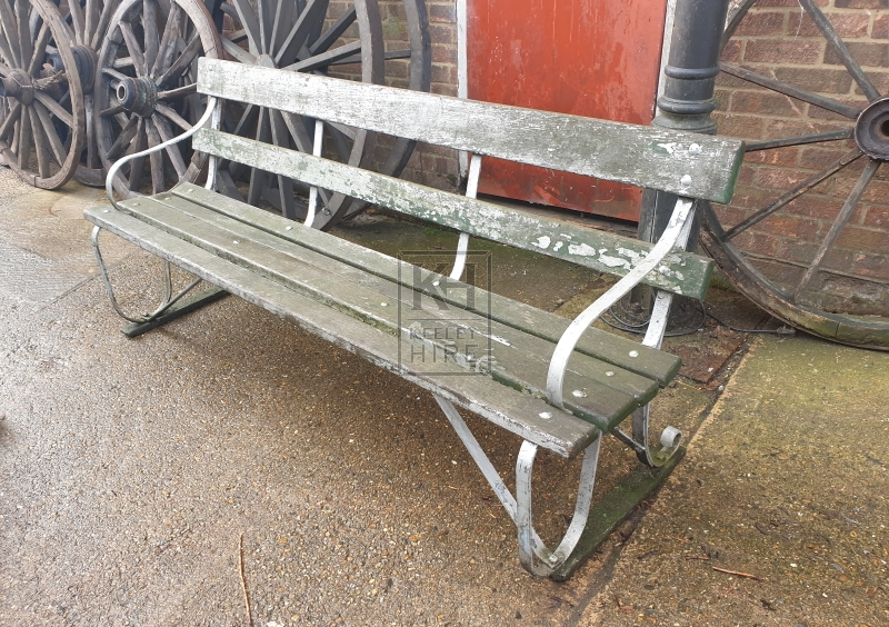 Worn bench with back