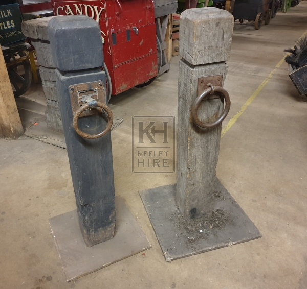 Straight wood dock post with ring