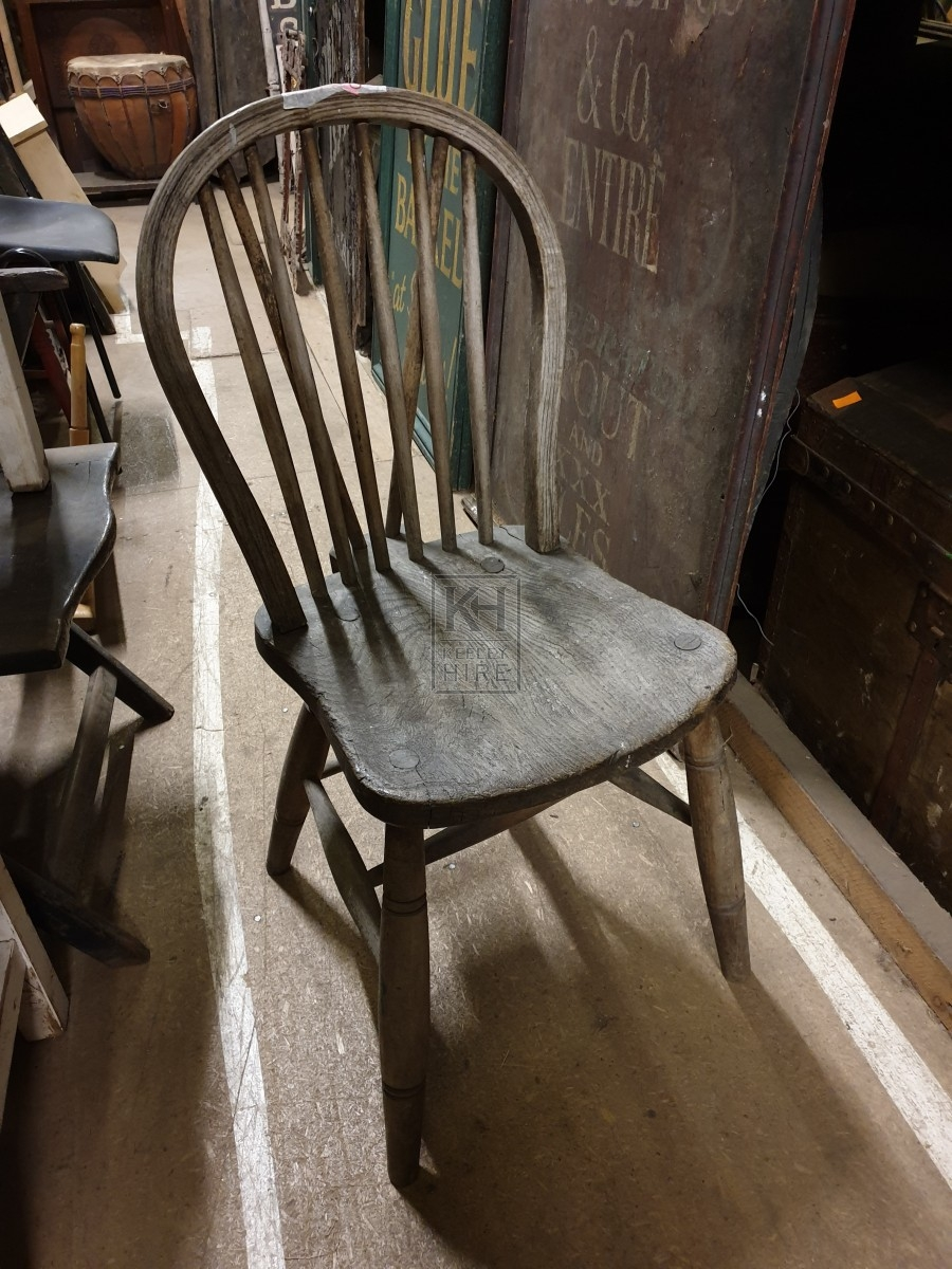 Curved back wood chair