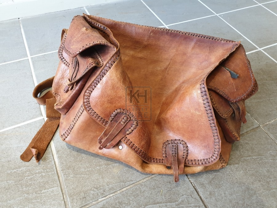 Light tan leather bag with stitching