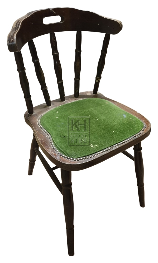 Curved back upholstered wood chair