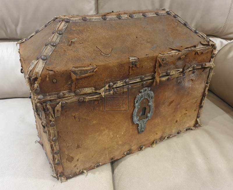 Worn medium leather chest