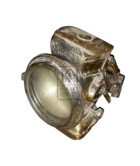 Early brass oil lamp