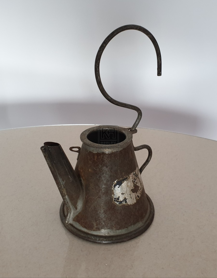 Small metal oil can with hook