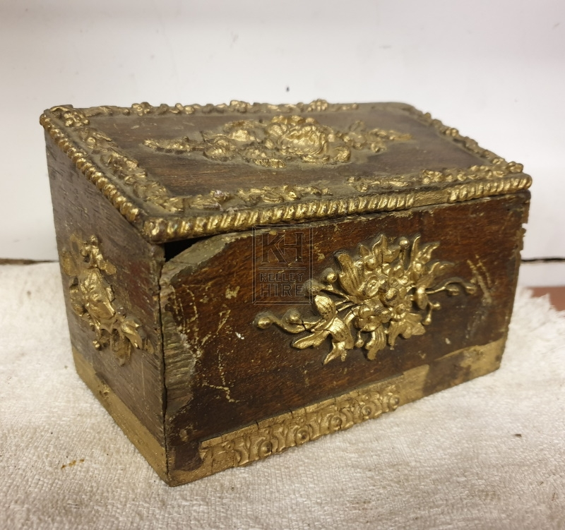 Small gold & wood box
