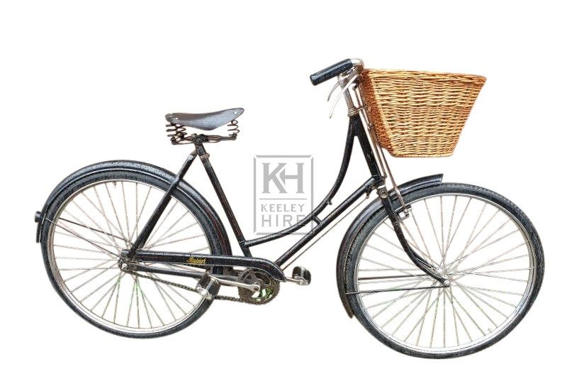 Ladies period black bicycle with basket