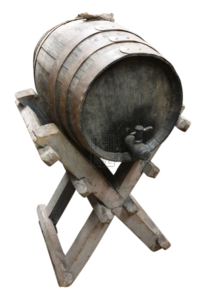 Medium wood barrel on X-frame stand