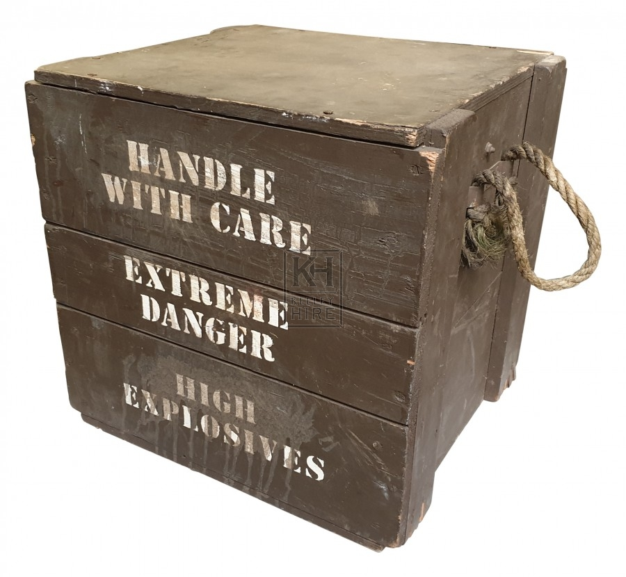 Handle with Care wood crate