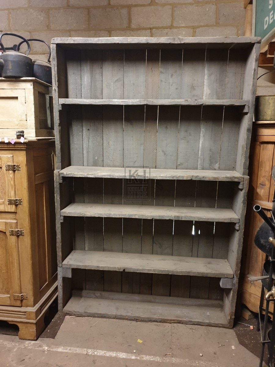 Large grey wood shelf unit