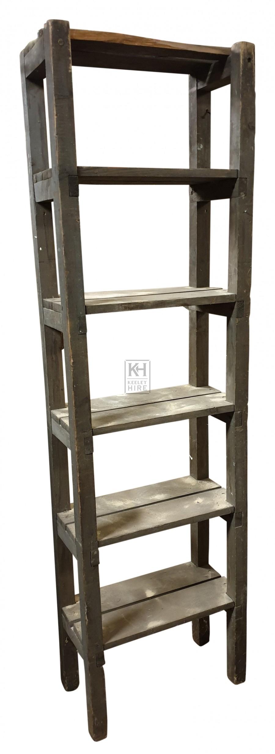 Tall narrow wood shelf unit