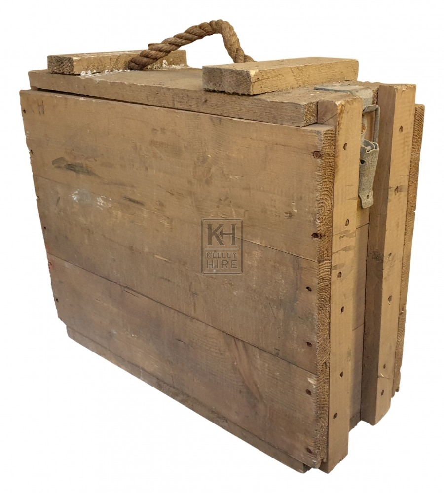 Large narrow wood crate with rope handle