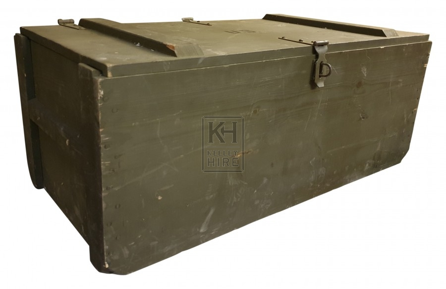 Large wood green ammo crate
