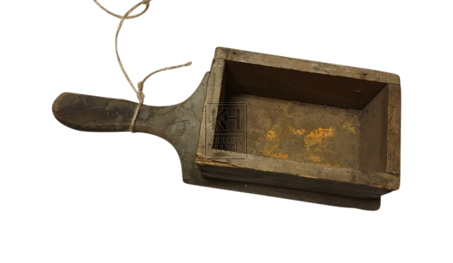 Wood begging box with handle