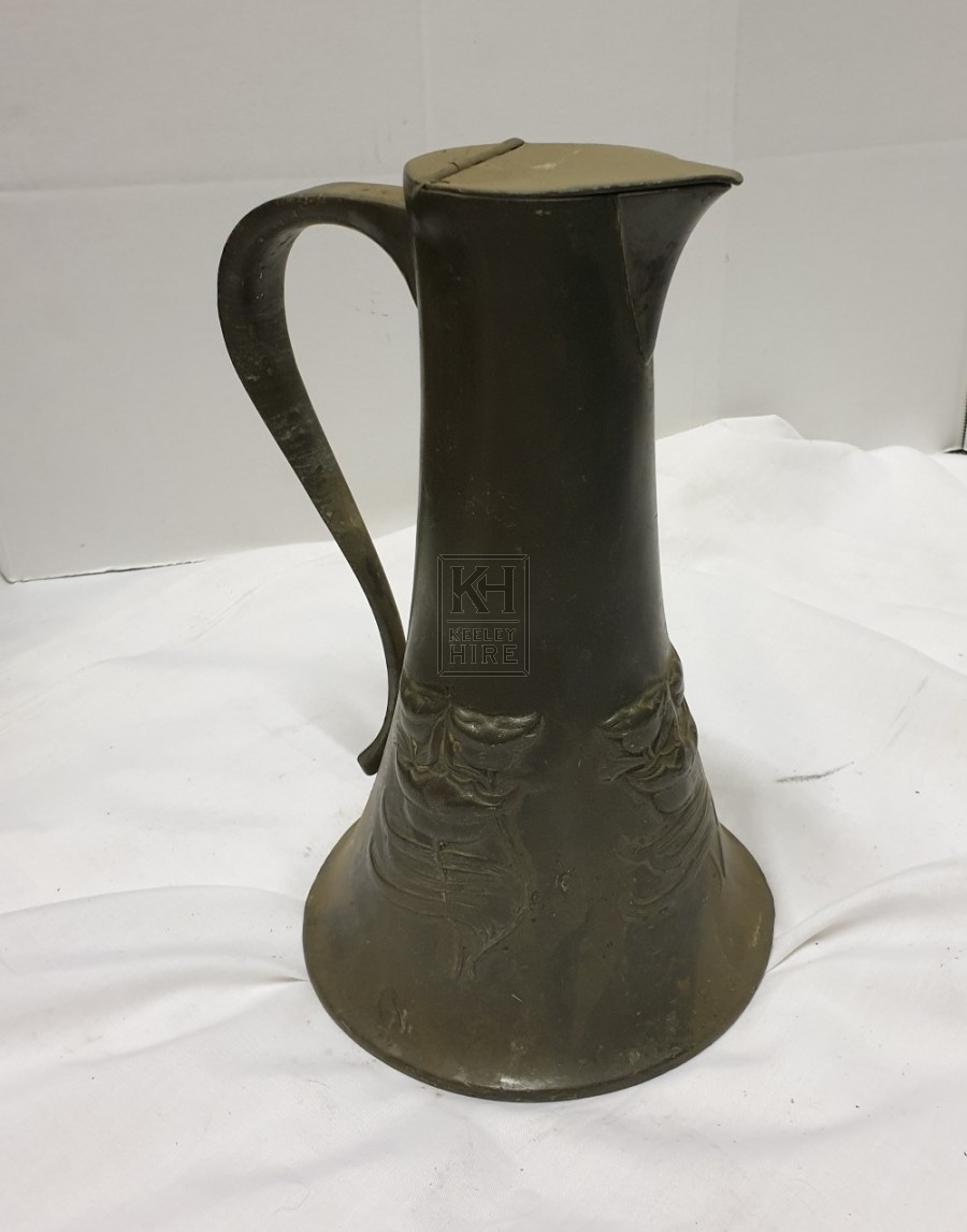 Engraved pewter jug with lid