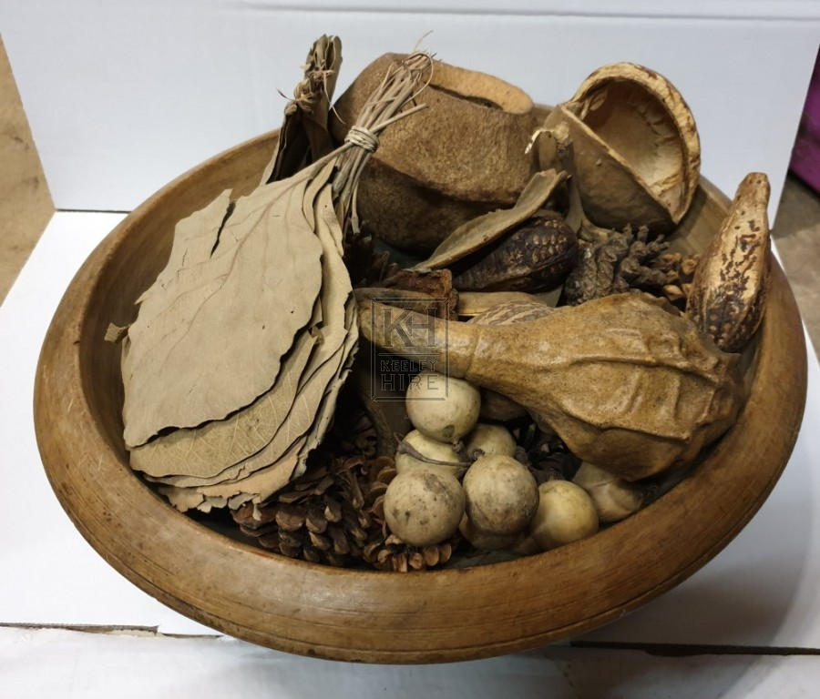 Large wood bowl with dried pieces