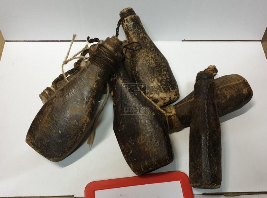 Small leather bottles