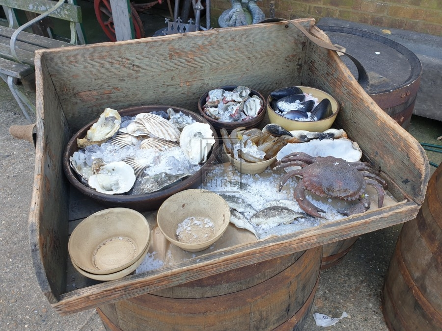 Sellers tray with seafood dressing