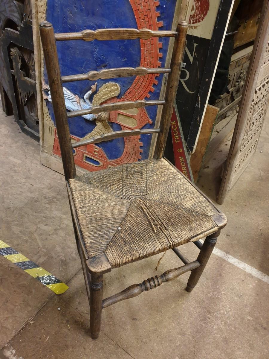 Straw seat ladder back chair