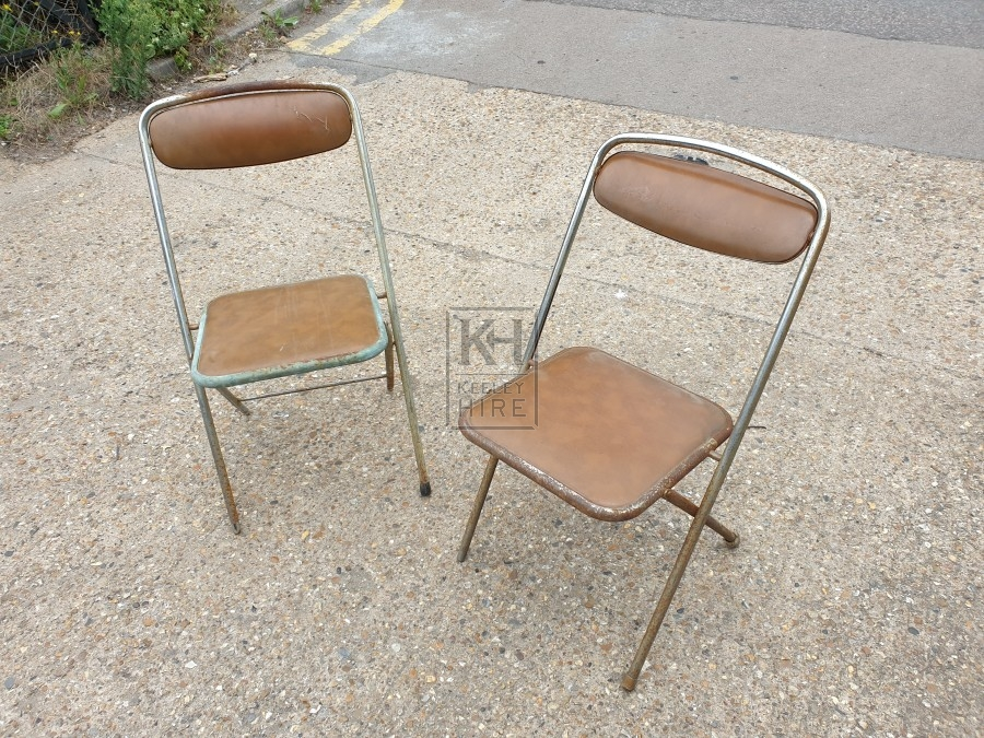 Folding Faux Leather Metal Frame Chair