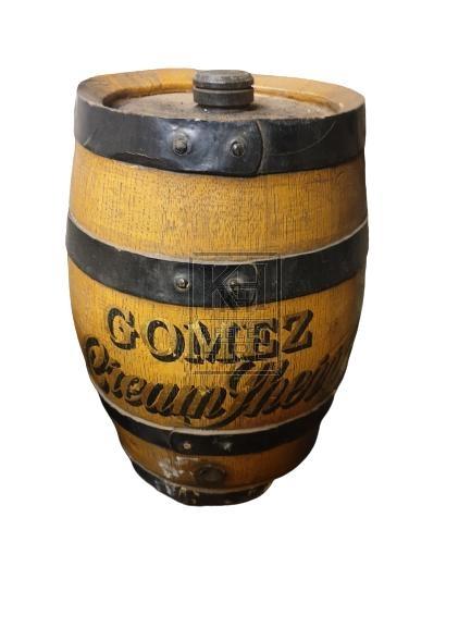Small polished wood barrel