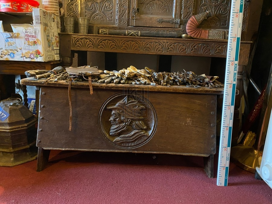 Oak Coffer Chest with Carved Face