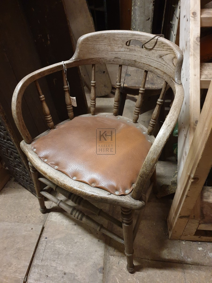Light wood curved back chair & leather