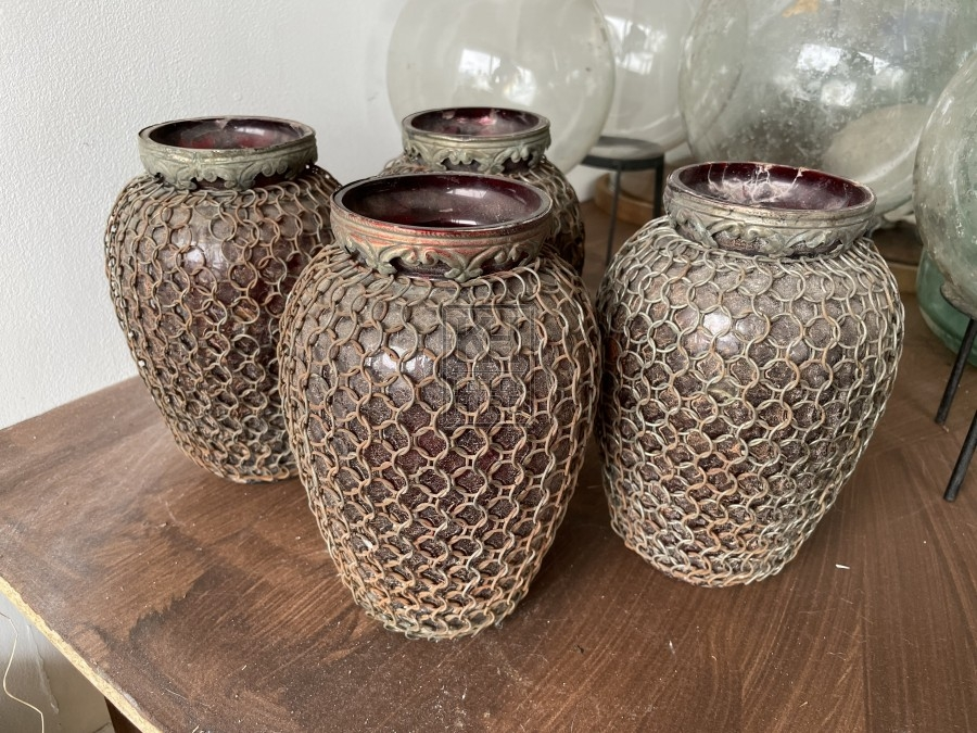 Glass Urn with Chainmail Cover