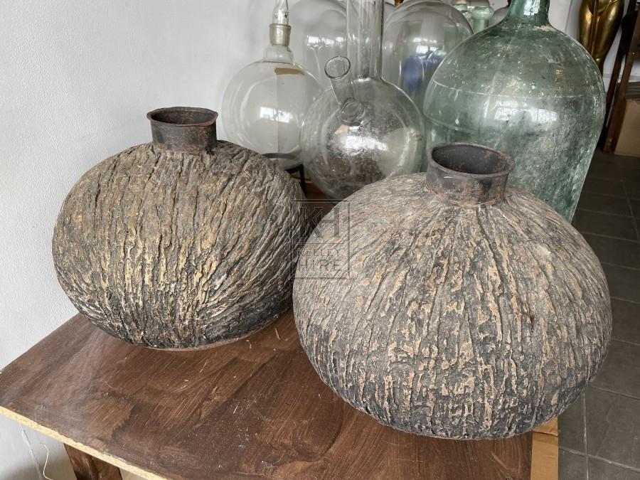 Large Metal Pot with Bark Finish