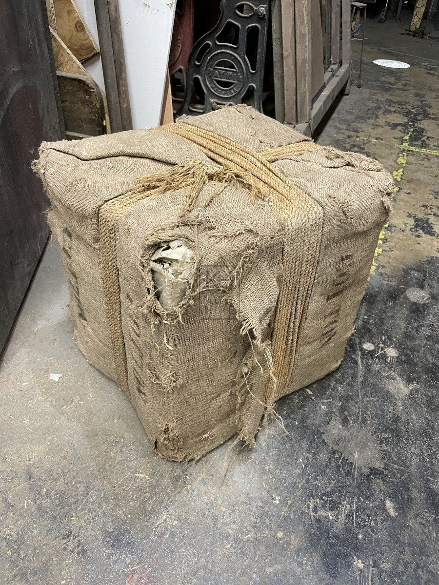 Square Hessian Bale with Rope