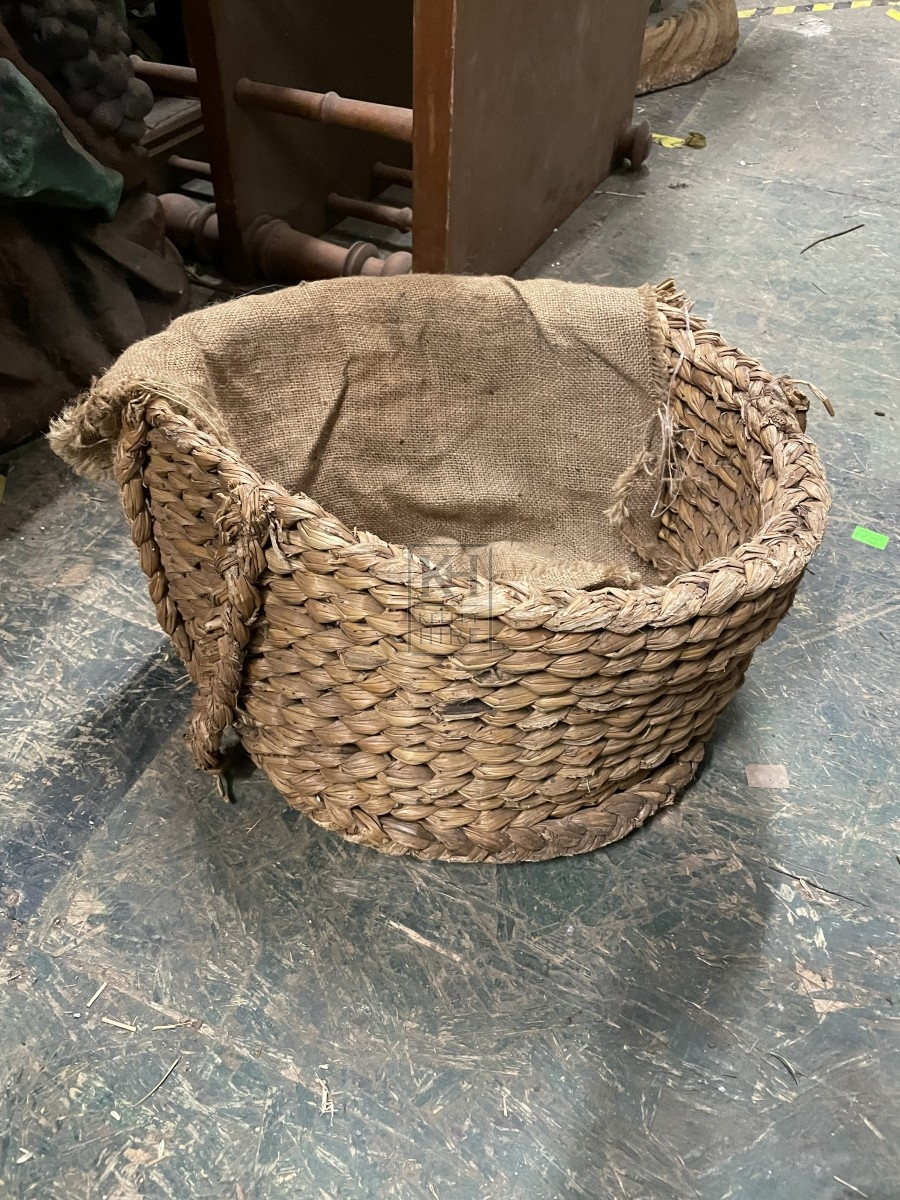 Damaged Straw Basket with Hessian Top