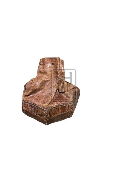 Hexagonal Tan Leather Pouch