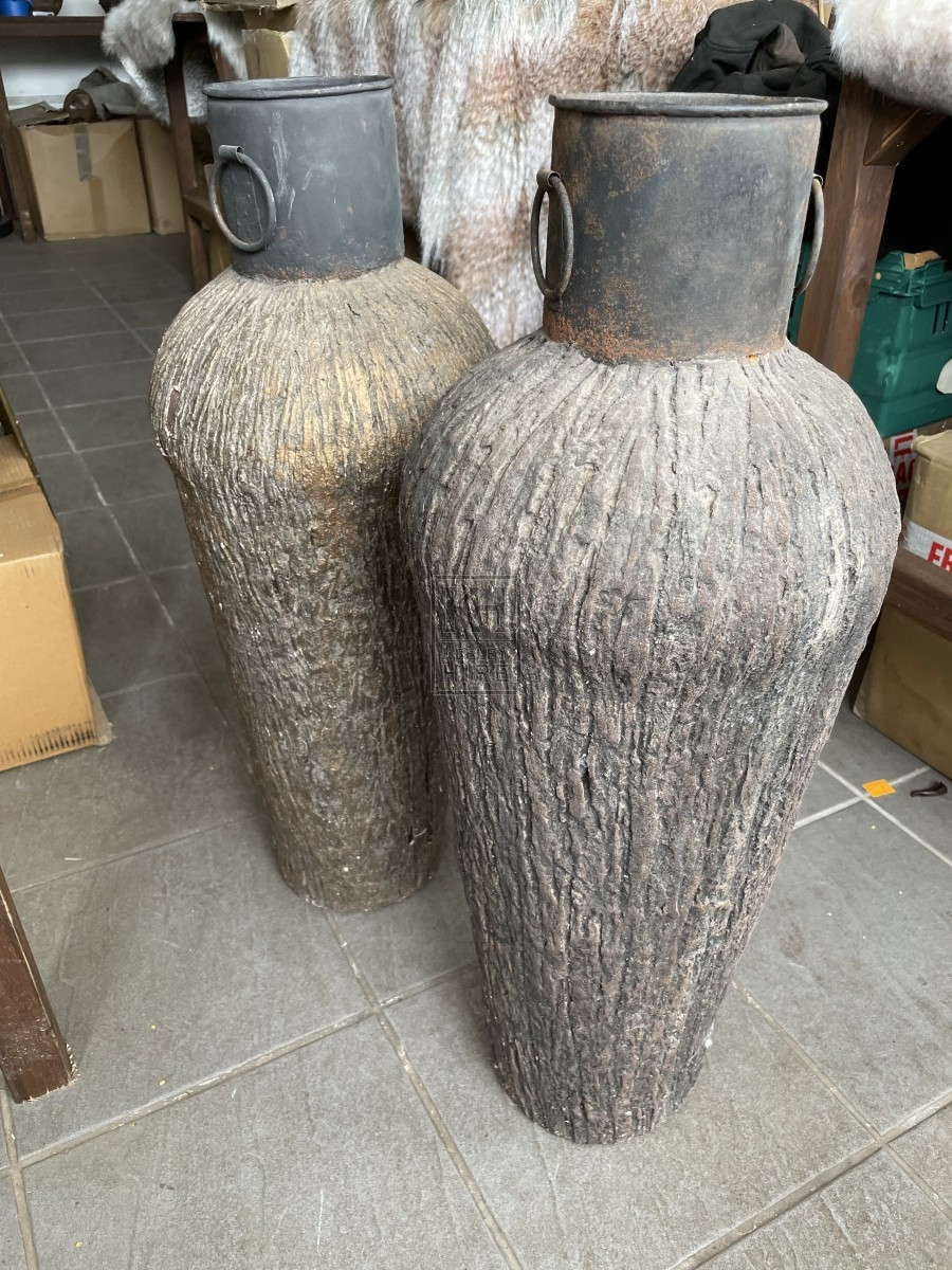 Tall Urn with Ring Handles Bark Finish