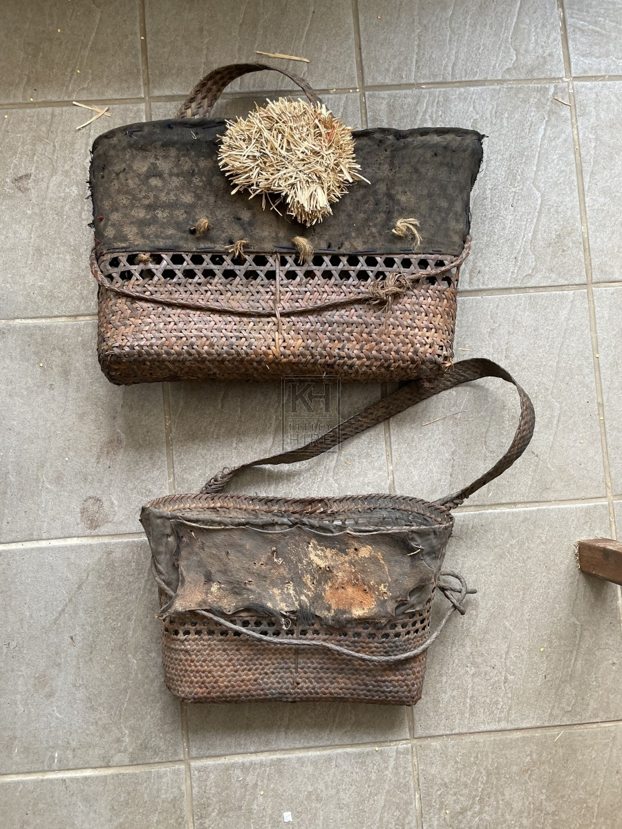 Dark Woven Leather Bag with Strap