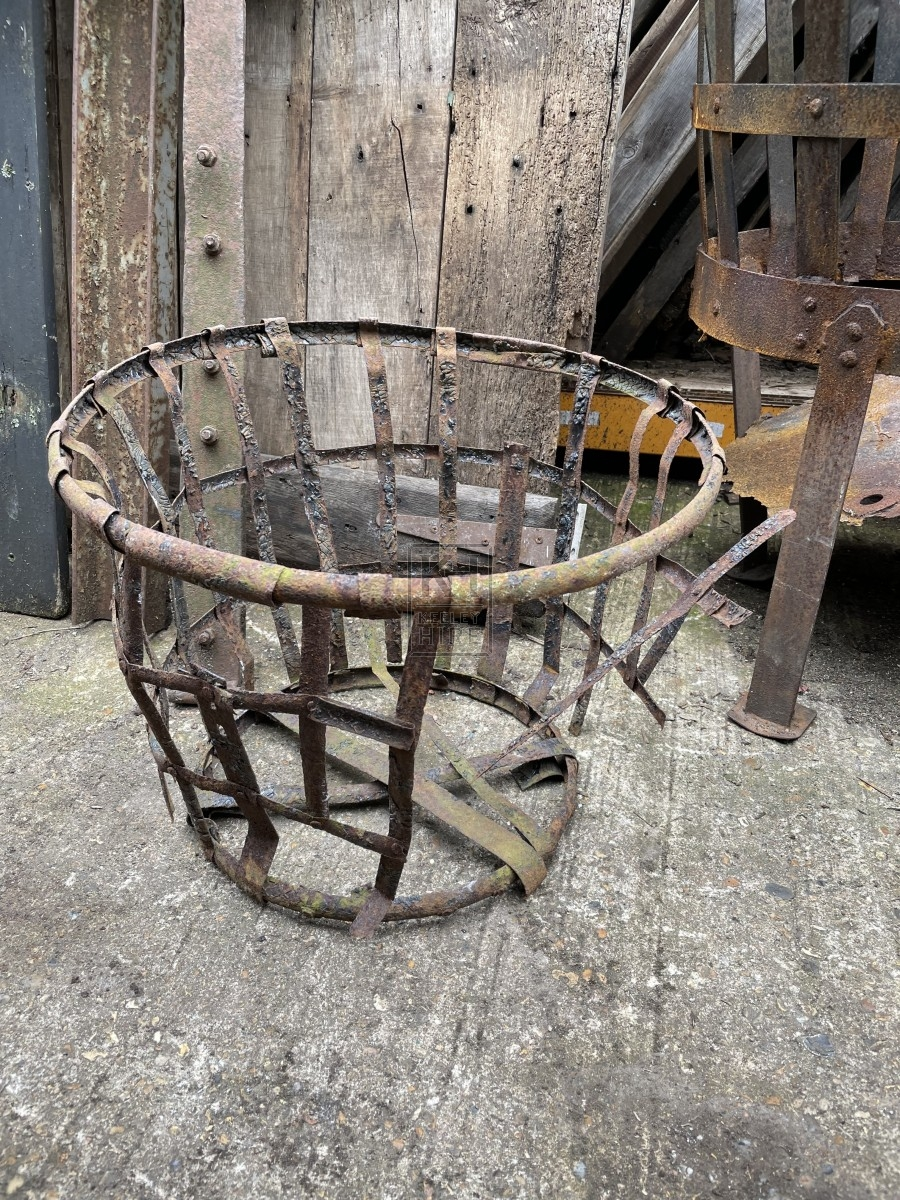 Aged Burned Squashed Round Metal Brazier