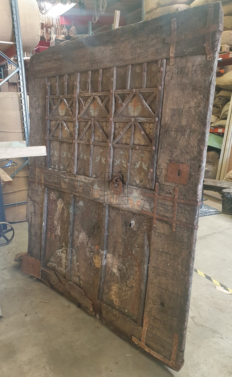 Large wide painted aged door