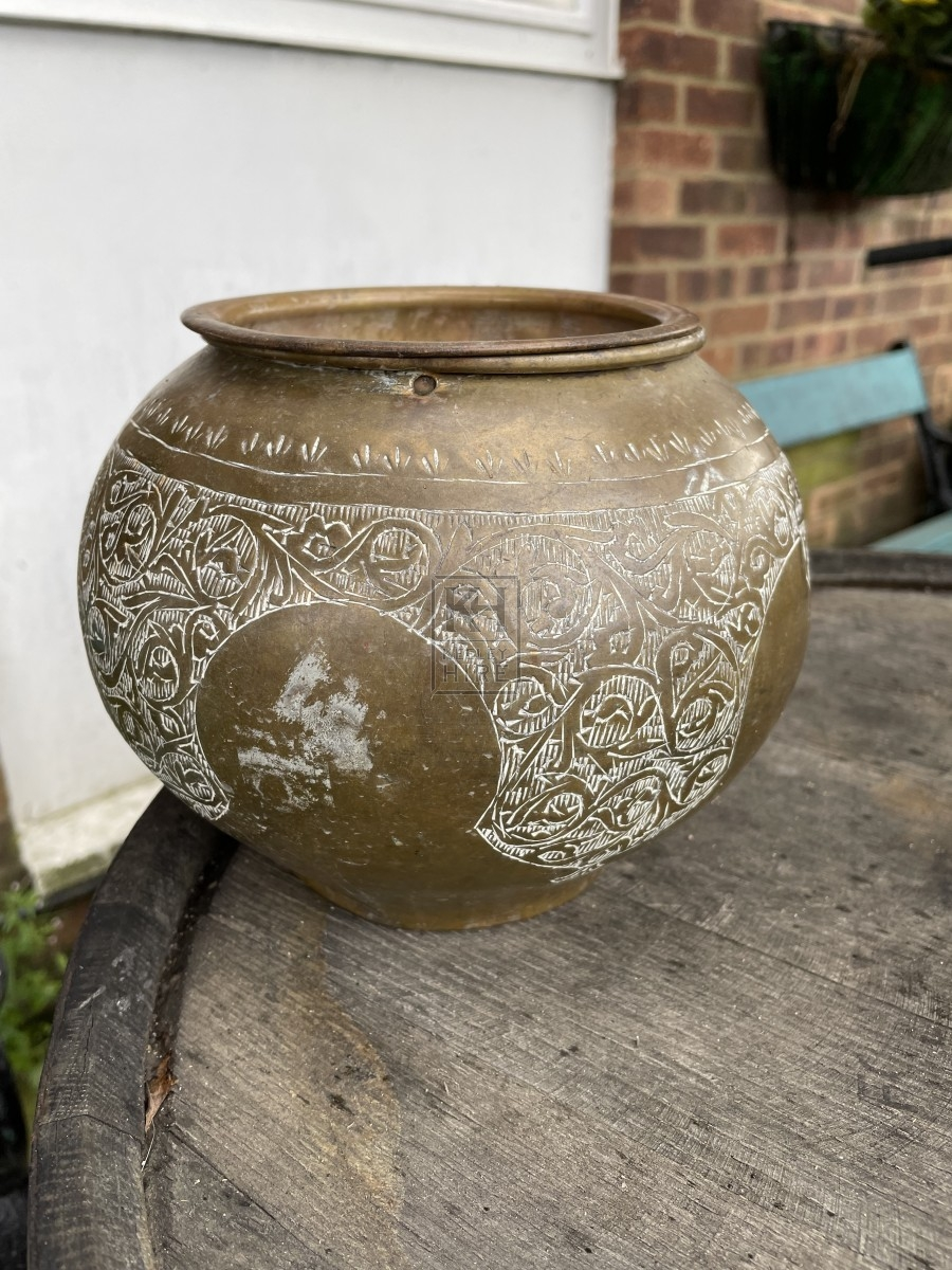 Engraved Copper Urn With Lid