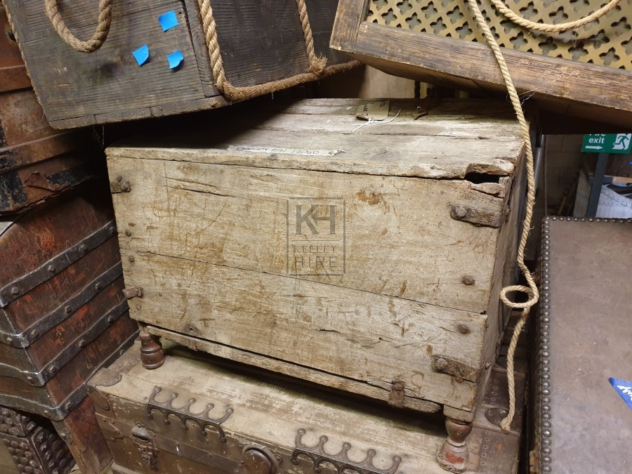 Large plain wood chest with turned legs
